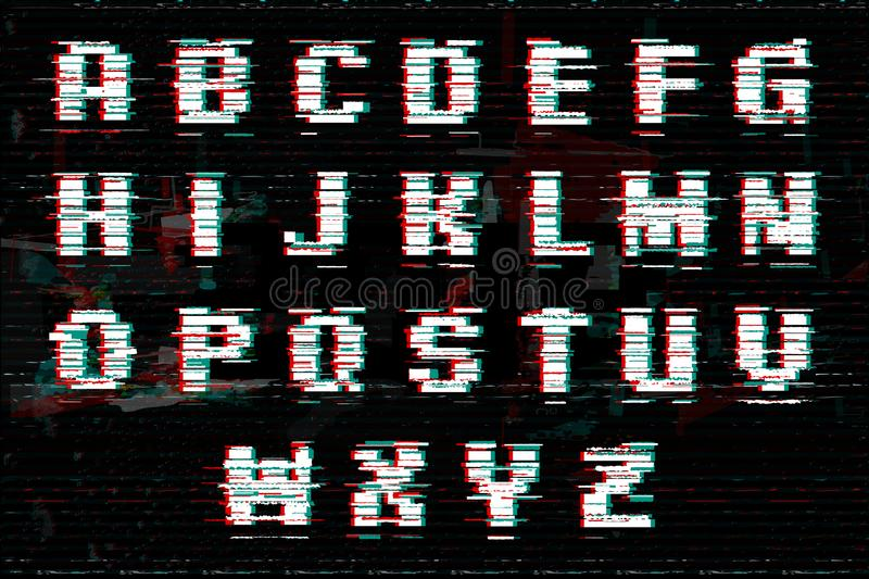 Alphabet with glitch and noise effect. Perfect style for digital illustrations. Vector abstract technology font. Alphabet with glitch and noise effect. Perfect royalty free illustration