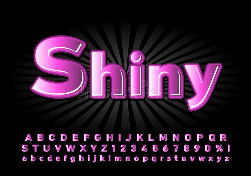 Alphabet glossy font for the poster pink color on a black background royalty free stock image