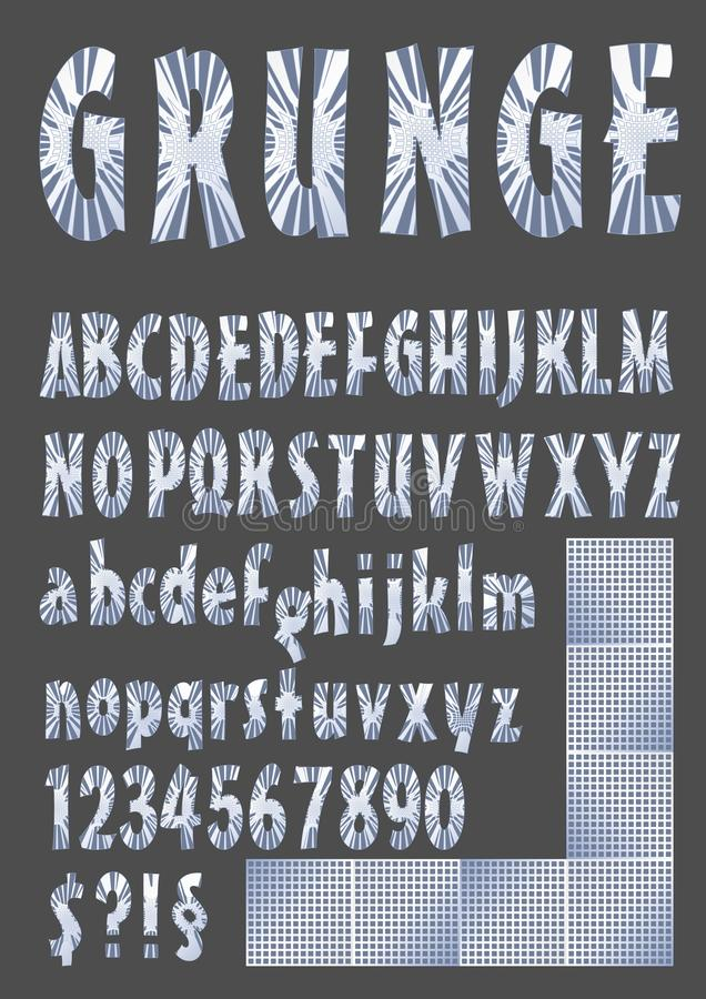 Alphabet grunge dans la conception métallique, haut de casse, lettre minuscule, nombre, symboles, éléments argentés de grille illustration de vecteur