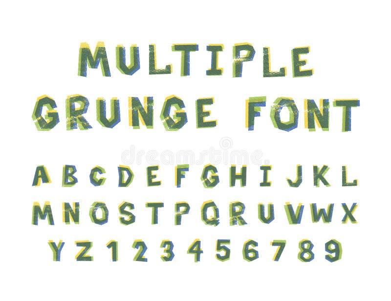 Alphabet grunge de police de couleurs lumineuses multiples sur le blanc photos libres de droits