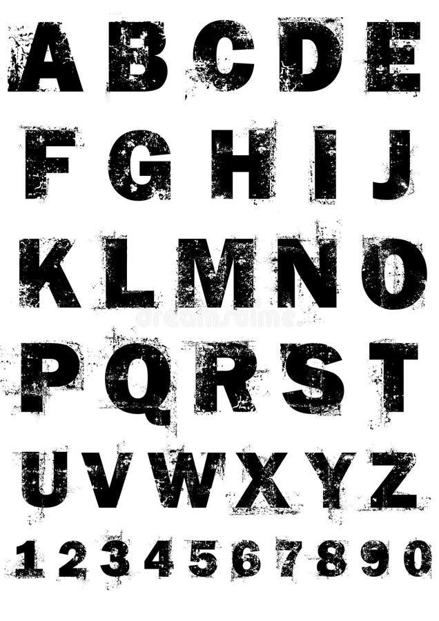 Alphabet Grunge Et Numéros Photographie stock libre de droits