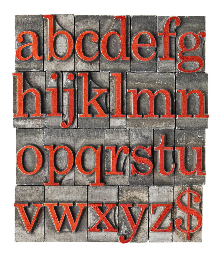 Alphabet in grunge metal type. English alphabet (lowercase) and dollar sign in vintage grunge letterpress metal type stained by red ink royalty free stock image