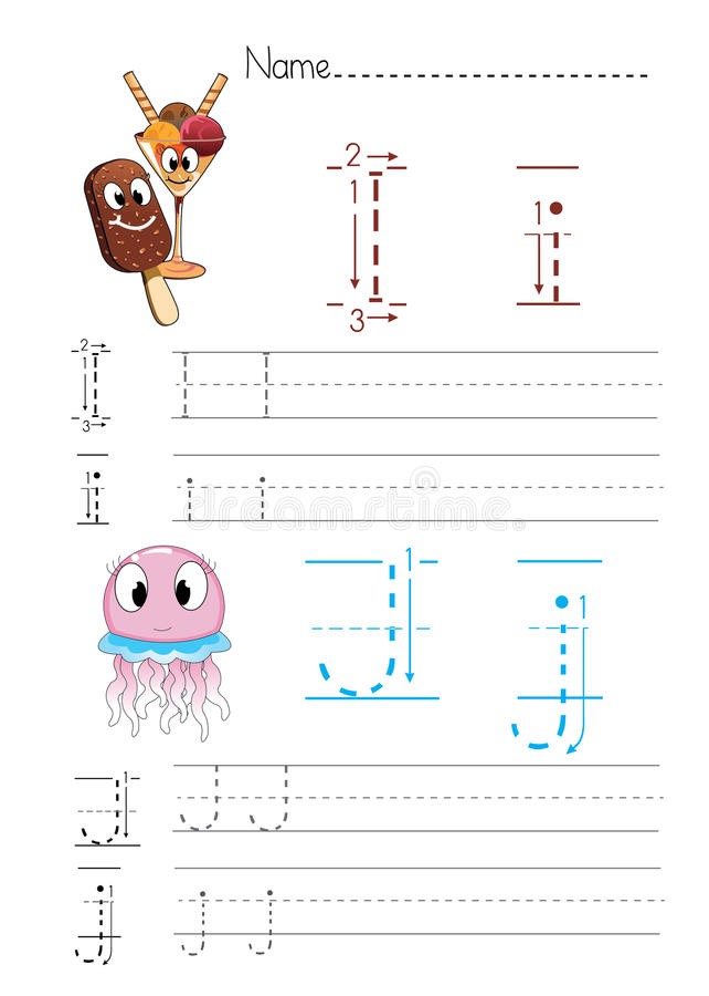 Alphabet handwriting I J vector illustration