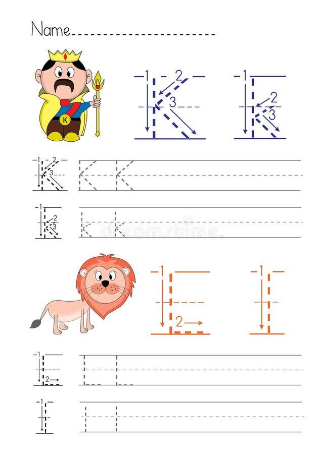 Alphabet handwriting K L stock illustration