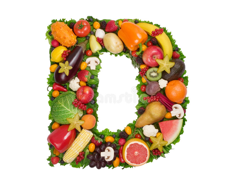 Alphabet of Health - D. Letter made of fresh fruits and vegetables isolated on white