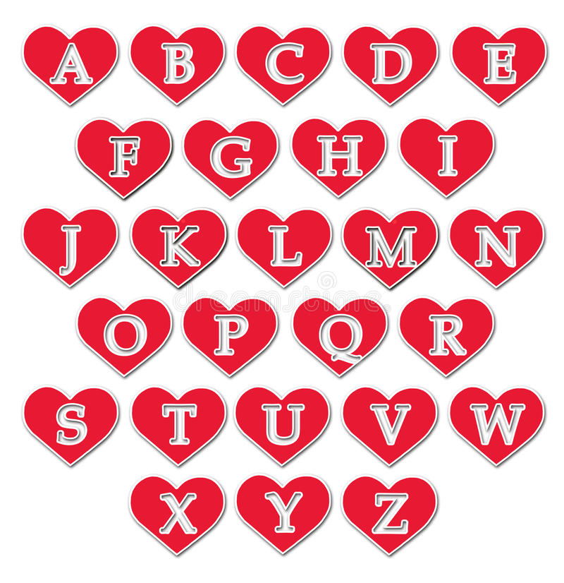 Alphabet. The alphabet in hearts on white wall-paper royalty free illustration