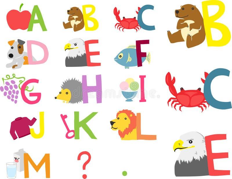 Alphabet illustré heure du matin illustration stock