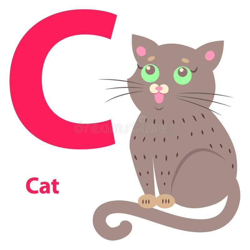 Alphabet Illustration for Letter C with Cute Cat stock illustration