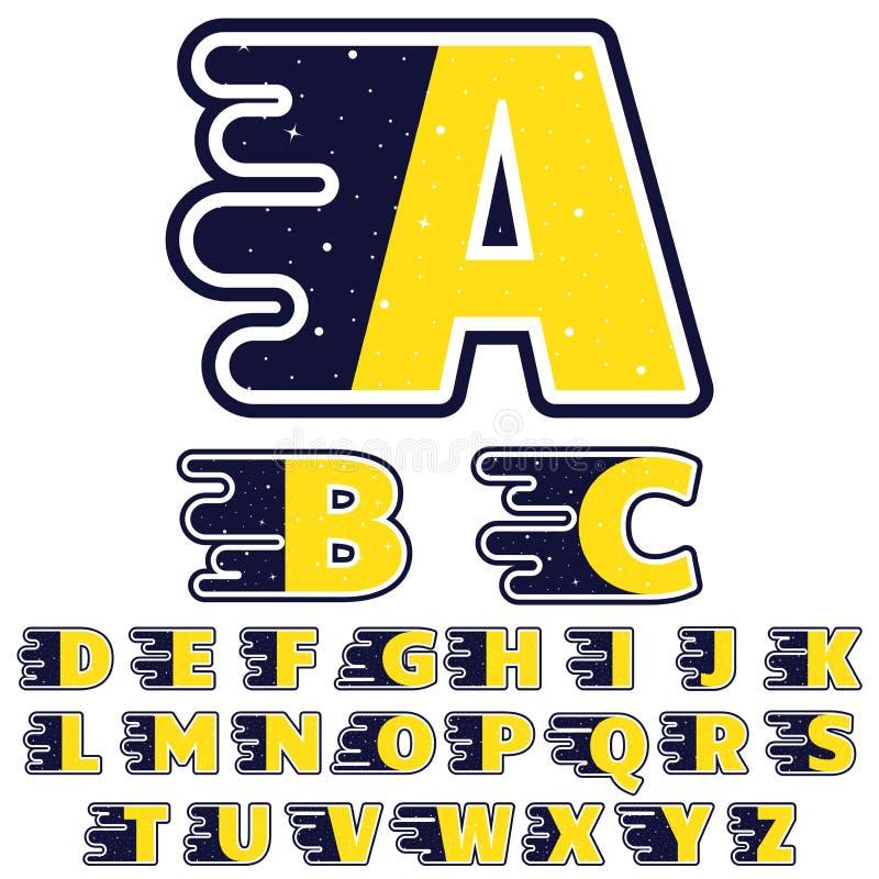 Alphabet im Weltraumthema Die Buchstaben werden mit Sternen, Galaxien, Kometen, Sonnen, Planeten verziert Flache Art vektor abbildung