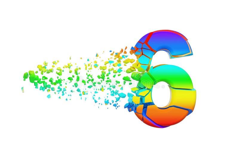 Alphabet iridescent brisé cassé numéro 6 Police écrasée d'arc-en-ciel 3d rendent d'isolement sur le fond blanc illustration de vecteur