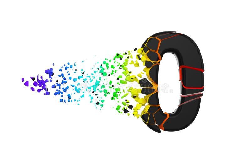 Alphabet iridescent brisé cassé numéro 0 Police écrasée de noir et d'arc-en-ciel 3d rendent d'isolement sur le fond blanc illustration libre de droits