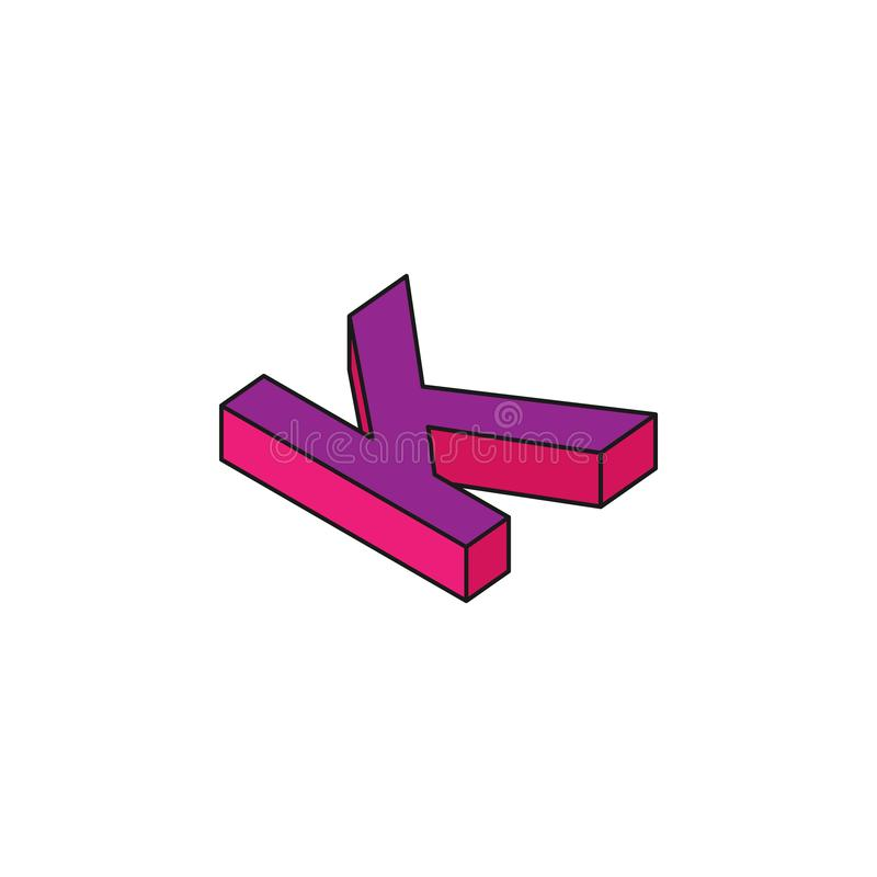 alphabet K, 3D colored isometric icon. Element of 3d words and symbols icon for mobile concept and web apps. Isometric alphabet K vector illustration