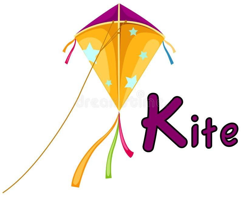 Alphabet K for kite vector illustration