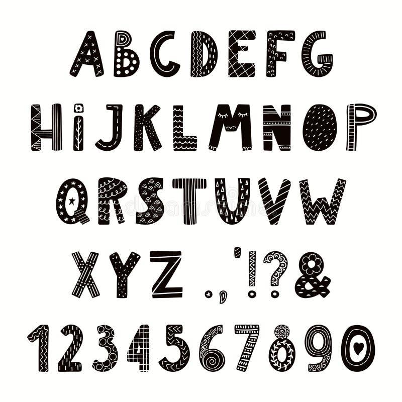Alphabet latin dans le style scandinave illustration stock