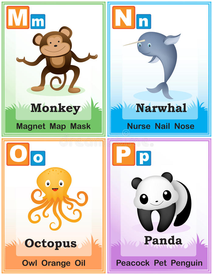 animals with four letters alphabet learning book page 4 stock vector illustration 20464