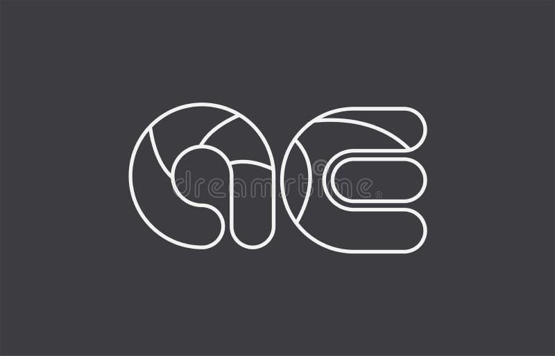 Alphabet letter ae a e combination black white logo company icon. Black white grey alphabet letter ae a e combination logo design suitable for a company or stock illustration