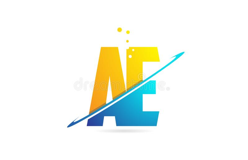 Alphabet letter AE A E combination for logo company icon design. Alphabet letter AE A E combination in blue and orange colors suitable as a logo for a company or stock illustration