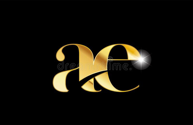 Alphabet letter ae a e gold golden metal metallic logo icon design. Gold golden metal metallic alphabet letter ae a e logo icon design for a company or business royalty free illustration