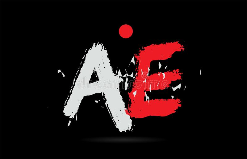 Alphabet letter combination AE A E with grunge texture on black background logo. Design of alphabet letter combination AE A E on black background with grunge stock illustration