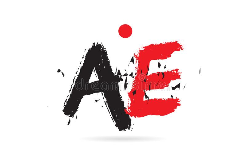 Alphabet letter combination AE A E with grunge texture logo. Design of alphabet letter combination AE A E with grunge texture and black red color suitable as a stock illustration