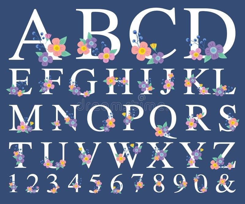 Alphabet Letter with Decorative Flower stock illustration