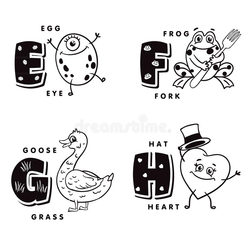 Alphabet letter E F G H depicting an egg, frog, goose and heart. Vector alphabet stock illustration
