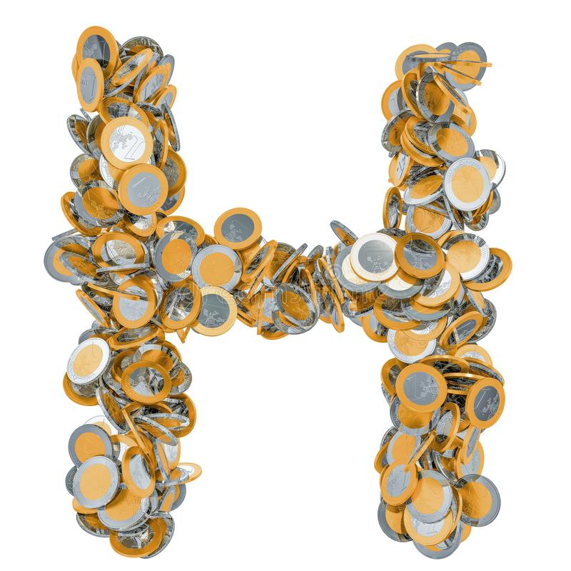 Alphabet letter H from euro coins. 3D rendering stock images