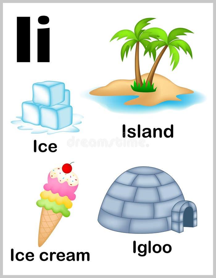 Alphabet letter I pictures royalty free illustration