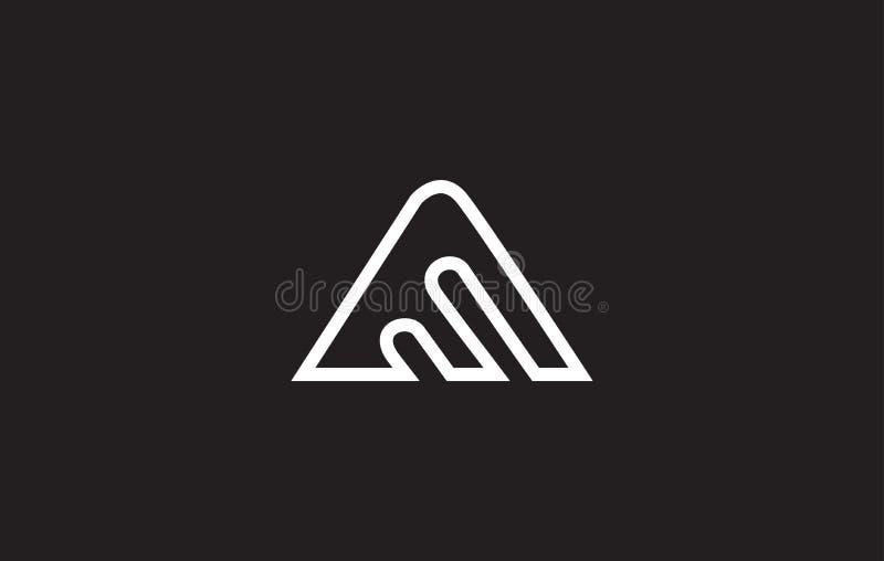 Alphabet letter A line art logo icon design. Alphabet letter A line art monoline simple wire white black background vector logo icon sign design template stock illustration