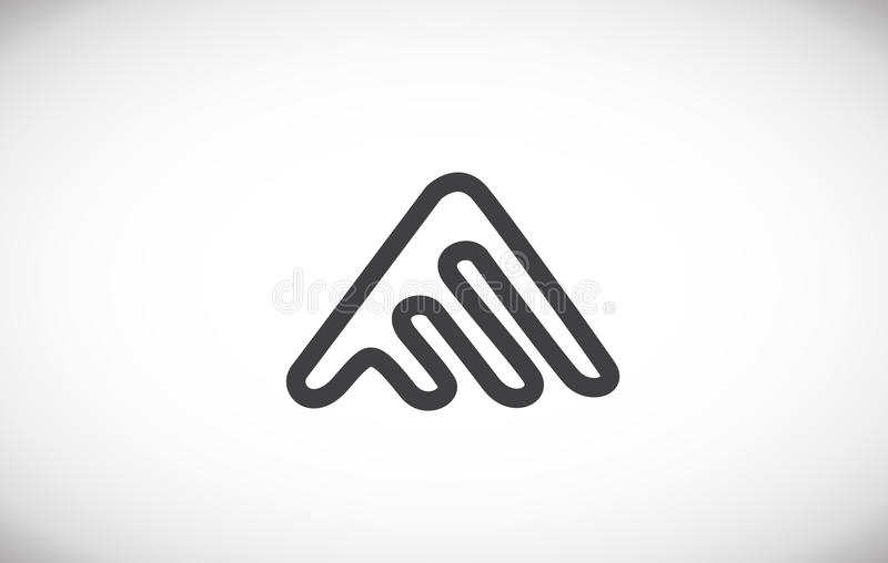 Alphabet letter A line logo icon design. Alphabet letter A line art monoline grey simple abstract vector logo icon sign design template stock illustration