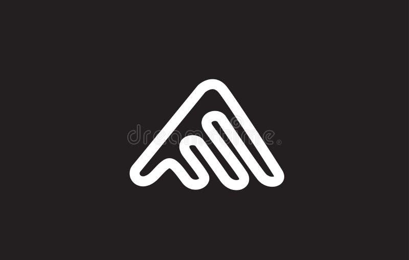 Alphabet letter A line logo icon design. Alphabet letter A line art white black background wire monoline vector logo icon sign design template royalty free illustration