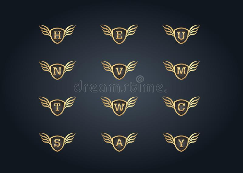 Alphabet Letter logo with golden winged shield stock illustration