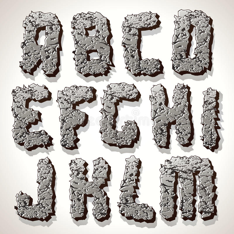 Download Alphabet Letter Made From Old Cracked Stone Vector Stock Vector - Image: 29602314