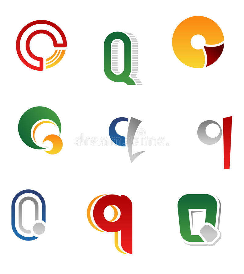 Alphabet letter Q stock illustration