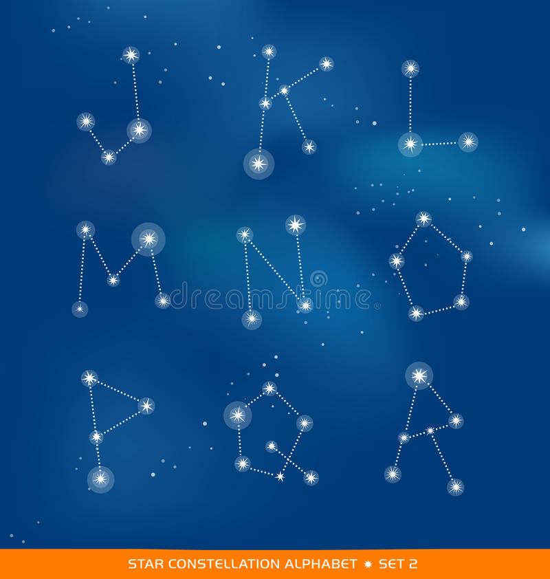 Alphabet letter set as star constellations stock illustration