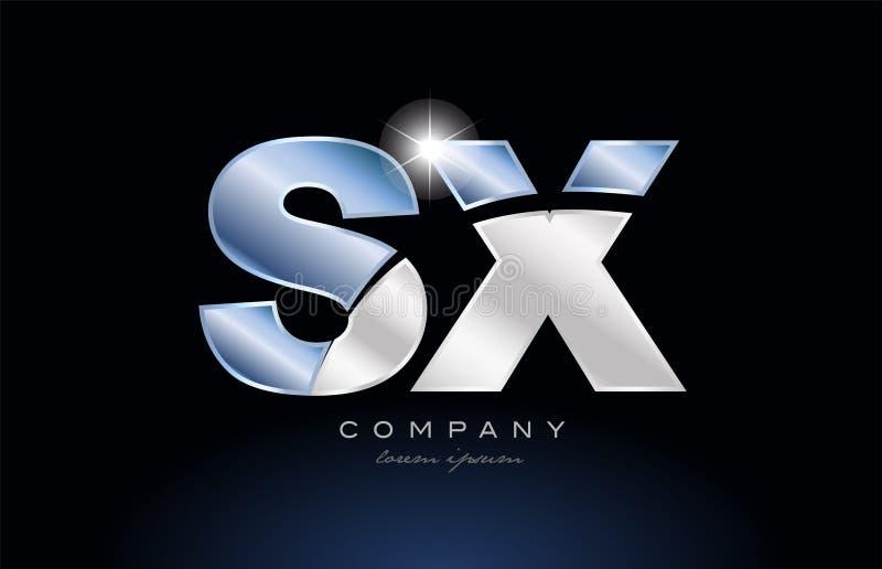 metal blue alphabet letter sx s x logo company icon design vector illustration