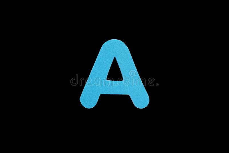 Alphabet letter A symbol of sponge rubber isolated on black background stock photo