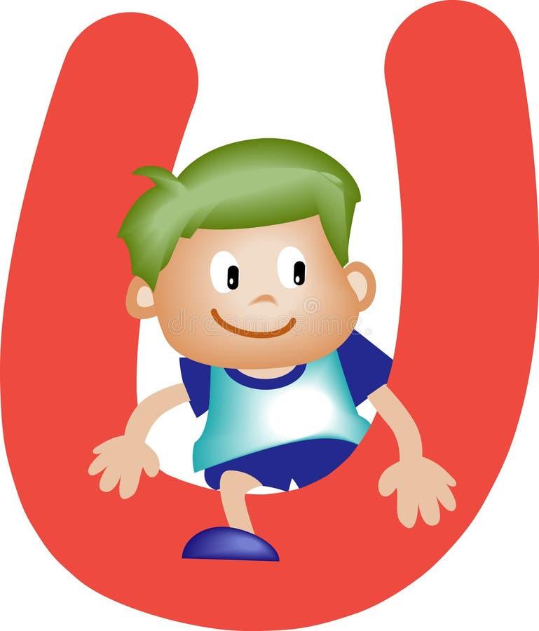 Alphabet letter U (boy) vector illustration