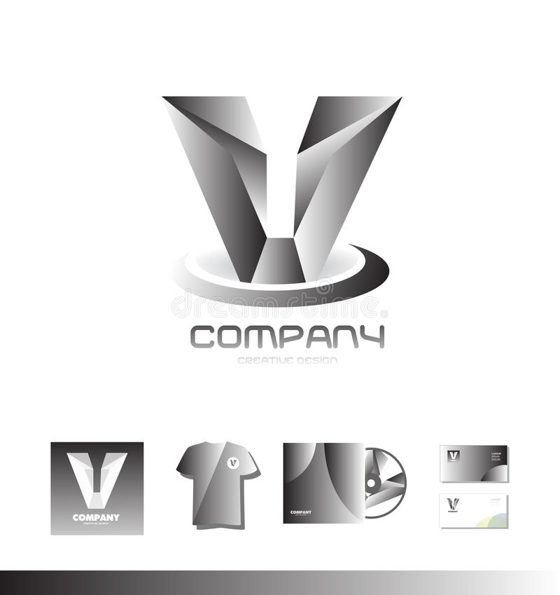 Alphabet letter V grey silver metal logo royalty free illustration