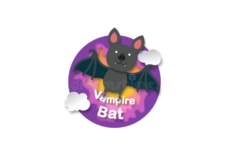 Alphabet Letter V-vampire bat,paper cut concept. Vector illustration vector illustration