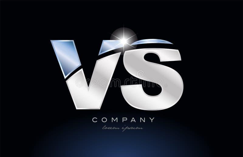 metal blue alphabet letter vs v s logo company icon design royalty free illustration