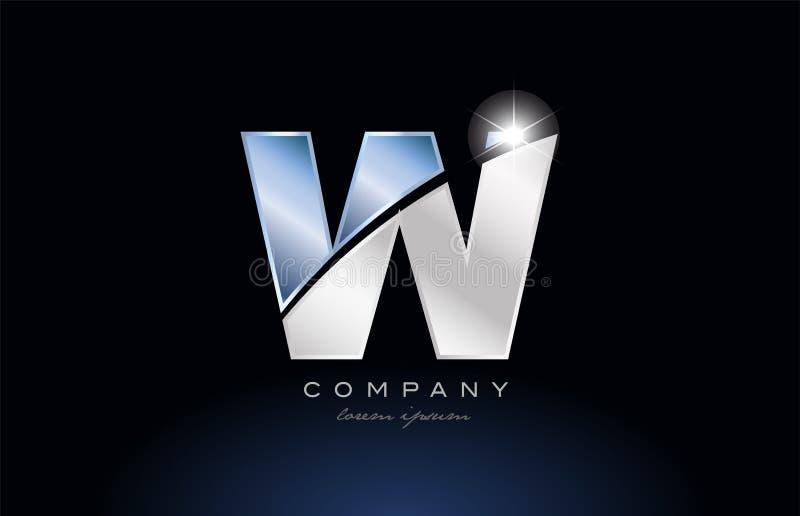 metal blue alphabet letter w logo company icon design vector illustration