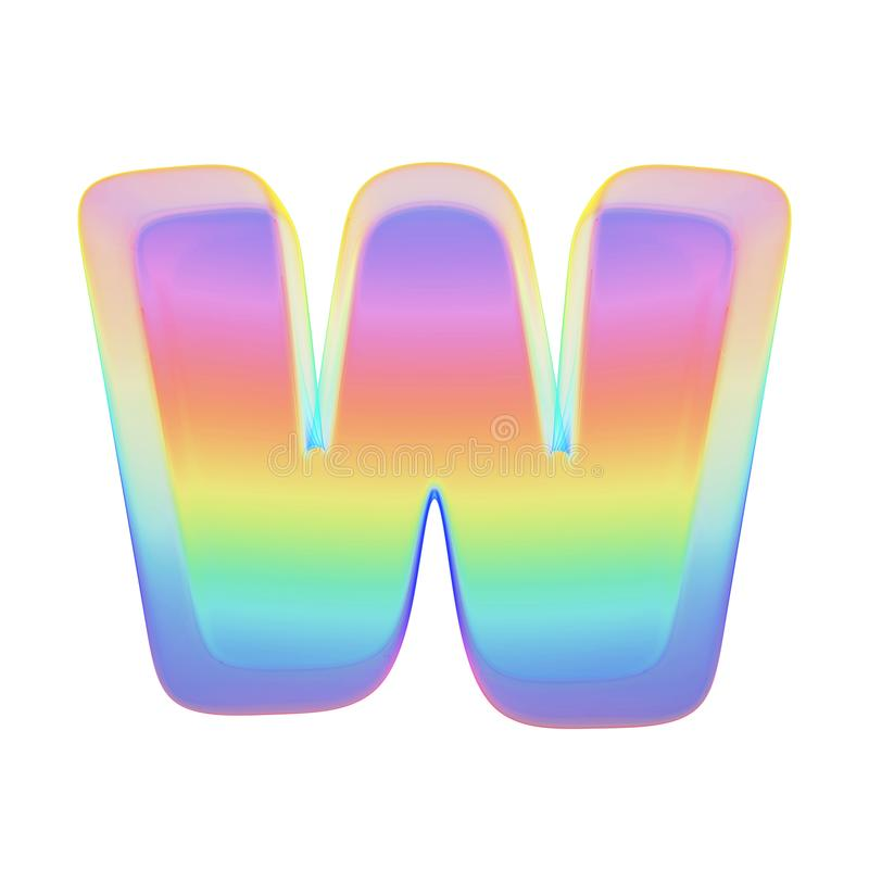 Alphabet letter W uppercase. Rainbow font made of bright soap bubble. 3D render isolated on white background. Typographic symbol from iridescent holographic stock illustration