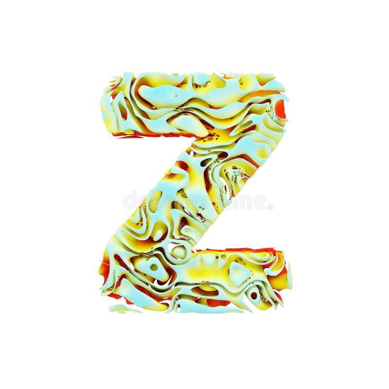 Alphabet letter Z uppercase. Liquid dynamic font made of orange, blue and yellow ink in water. 3D render isolated on white backgro. Und. Typographic symbol from stock illustration