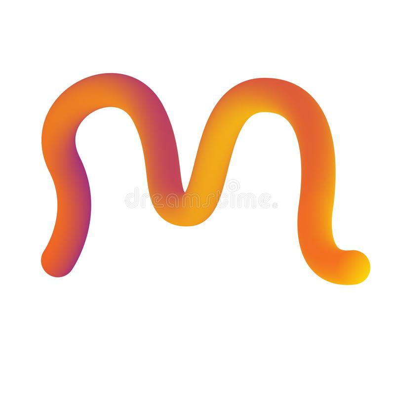Alphabet lettering M in gradient yellow and red. Futuristic style vector illustration