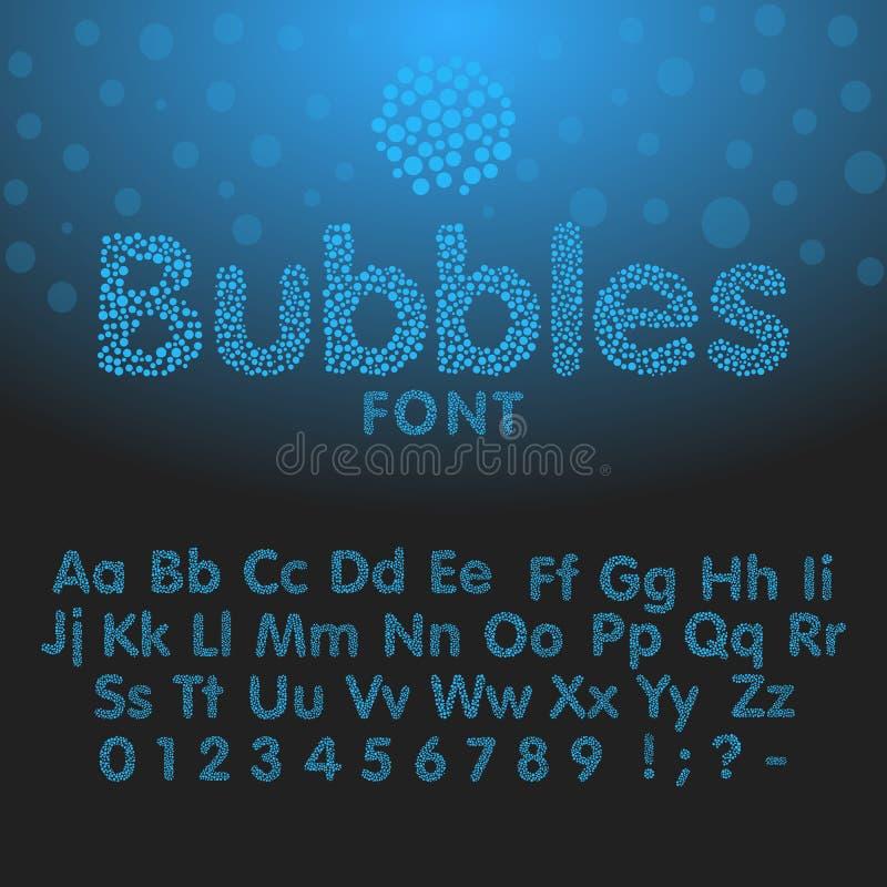 Alphabet letters consisting of blue bubbles vector illustration