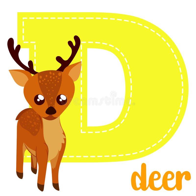 Alphabet letters D. Set alphabet letters D cute simple color stock illustration