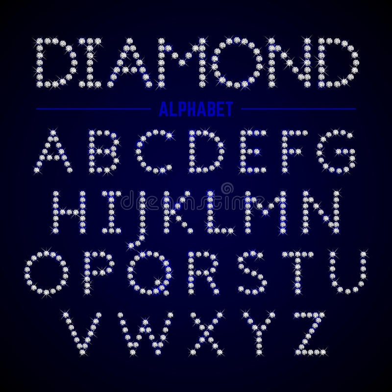 Alphabet letters from diamonds vector illustration