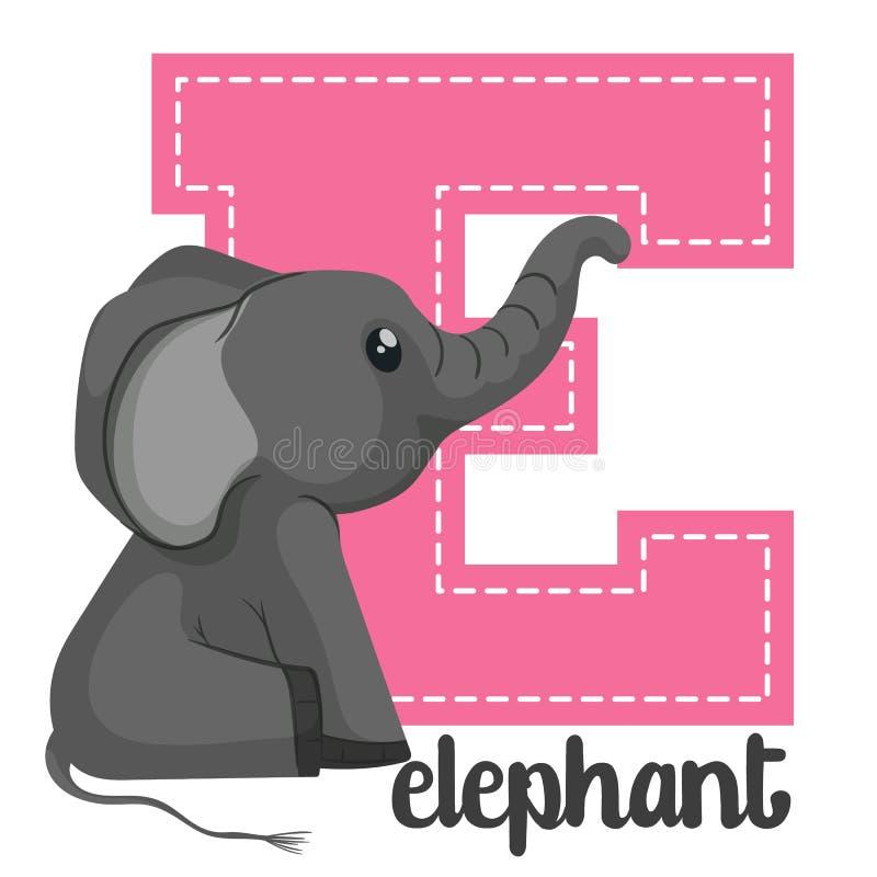 Alphabet letters E. Set alphabet letters E cute simple color vector illustration