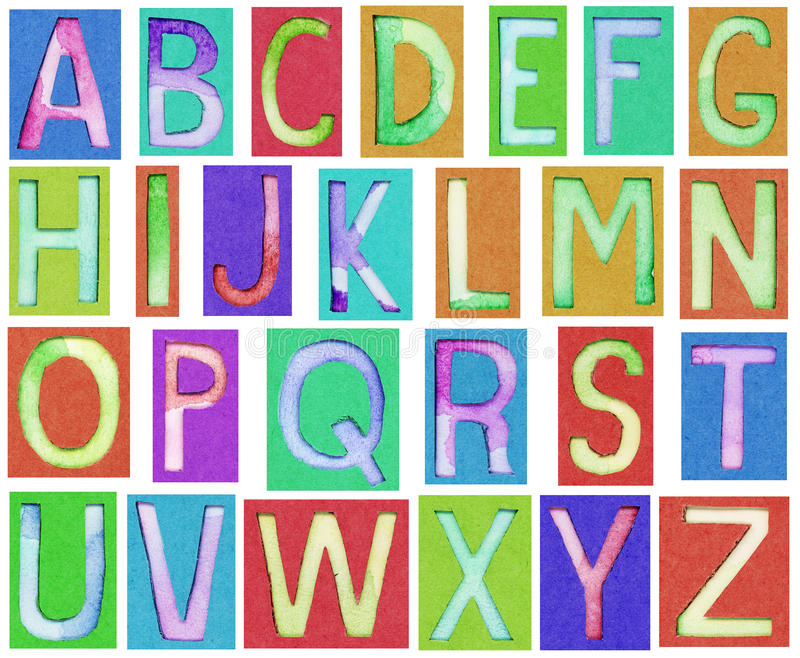 Download Alphabet Letters Made From Paper And Watercolor Stock Image - Image: 34931481